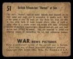 1939 Gum Inc. War News Pictures #51   British Fifteen-Ton Hornet Back Thumbnail