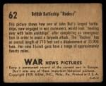 1939 Gum Inc. War News Pictures #62   British Battleship Rodney Back Thumbnail