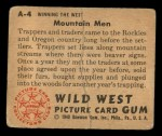 1949 Bowman Wild West #4 A  Mountain Men Back Thumbnail