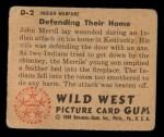 1949 Bowman Wild West #2 D  Defending their Home Back Thumbnail