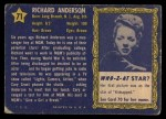 1953 Topps Who-Z-At Star #71  Richard Anderson  Back Thumbnail