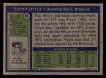 1972 Topps #50  Floyd Little  Back Thumbnail