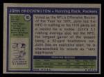 1972 Topps #85  John Brockington  Back Thumbnail