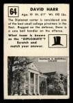 1951 Topps Magic #64  David Harr  Back Thumbnail