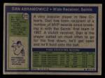1972 Topps #213  Dan Abramowicz  Back Thumbnail