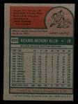 1975 Topps Mini #400  Rich Allen  Back Thumbnail