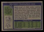 1972 Topps #288  Mel Farr  Back Thumbnail