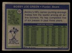 1972 Topps #11  Bobby Joe Green  Back Thumbnail