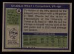 1972 Topps #53  Charlie West  Back Thumbnail