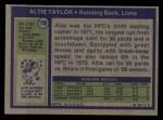1972 Topps #199  Altie Taylor  Back Thumbnail