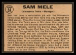 1964 Topps Venezuelan #54  Sam Mele  Back Thumbnail