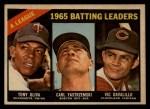 1966 Topps Venezuelan #216   -  Tony Oliva / Carl Yastrzemski / Vic Davalillo /  AL Batting Leaders Front Thumbnail