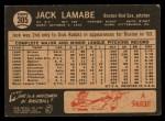 1964 Topps Venezuelan #305  Jack Lamabe  Back Thumbnail