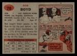 1957 Topps #70  Bob Boyd  Back Thumbnail