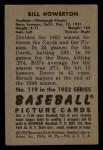 1952 Bowman #119  Bill Howerton  Back Thumbnail