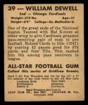 1948 Leaf #39  Billy Dewell  Back Thumbnail