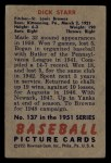1951 Bowman #137  Dick Starr  Back Thumbnail