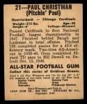1948 Leaf #21  Paul Christman  Back Thumbnail
