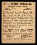 1948 Leaf #11  Terry Brennan  Back Thumbnail