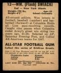 1948 Leaf #12 BN Bill Swiacki  Back Thumbnail