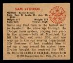 1950 Bowman #248  Sam Jethroe  Back Thumbnail