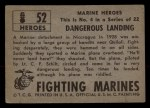 1953 Topps Fighting Marines #52   Dangerous Landing Back Thumbnail
