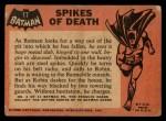 1966 Topps Batman Black Bat #17   Spikes of Death Back Thumbnail