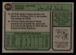 1974 Topps #291  Don Hahn  Back Thumbnail