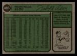 1974 Topps #485  Felipe Alou  Back Thumbnail