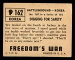 1950 Topps Freedoms War #162   Digging for Safety Back Thumbnail