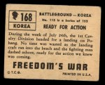 1950 Topps Freedoms War #168   Ready for Action Back Thumbnail