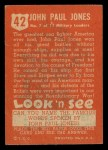 1952 Topps Look 'N See #42  John Paul Jones  Back Thumbnail
