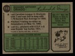 1974 Topps #113  Dick Drago  Back Thumbnail