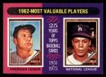 1975 Topps Mini #200   -  Mickey Mantle / Maury Wills 1962 MVPs Front Thumbnail