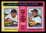 1975 Topps Mini #203   -  Willie Mays / Zoilo Versalles 1965 MVPs Front Thumbnail