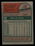 1975 Topps Mini #474  Luke Walker  Back Thumbnail