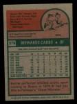 1975 Topps Mini #379  Bernie Carbo  Back Thumbnail