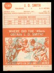 1963 Topps #135  J.D. Smith  Back Thumbnail