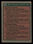 1975 Topps Mini #205   -  Carl Yastrzemski / Orlando Cepeda 1967 MVPs Back Thumbnail