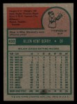 1975 Topps Mini #432  Ken Berry  Back Thumbnail