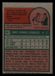 1975 Topps Mini #567  Jim Sundberg  Back Thumbnail