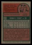 1975 Topps Mini #223  Robin Yount  Back Thumbnail