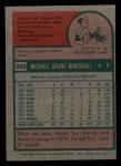 1975 Topps Mini #330  Mike Marshall  Back Thumbnail