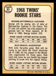 1968 Topps #301   -  George Mitterwald / Rick Renick Twins Rookies Back Thumbnail