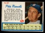1962 Post #57  Pete Runnels   Front Thumbnail