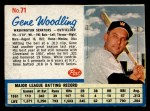 1962 Post Cereal #71  Gene Woodling   Front Thumbnail