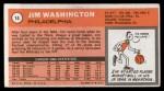 1970 Topps #14  Jim Washington   Back Thumbnail