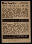 1954 Parkhurst #74  Dean Prentice  Back Thumbnail