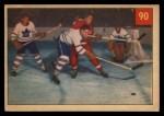 1954 Parkhurst #90   -  Alex Delvecchio Delvecchio Finds Leaf Front Thumbnail