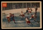 1954 Parkhurst #100   -  Terry Sawchuk / Bernard Geoffrian Sawchuk Stops Boom Boom Front Thumbnail